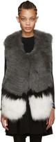Yves Salomon Grey Knit Fur Vest
