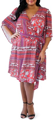 Maree Pour Toi Printed Faux Wrap Dress (Plus Size)