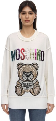 Moschino Wool Knit Sweater W/Teddy Embellishment