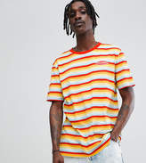 Puma Organic Cotton Retro Stripe T-Shirt In Orange Exclusive To ASOS