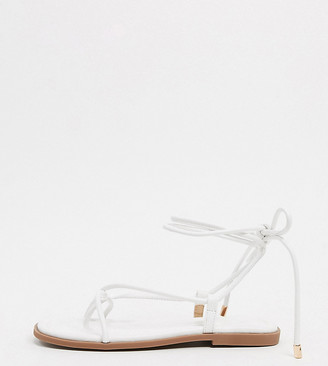 Truffle Collection wide fit square toe tie leg flat sandals in white