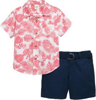 Little Me Foliage Button-Up Shirt & Shorts Set
