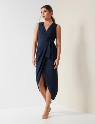 Forever New Liza Wrap Midi Dress - Navy - 10
