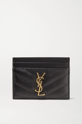 Saint Laurent Monogramme Quilted Textured-leather Cardholder - Black