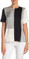 Donna Karan Woman Short Sleeve Crew Neck Silk Blend Top