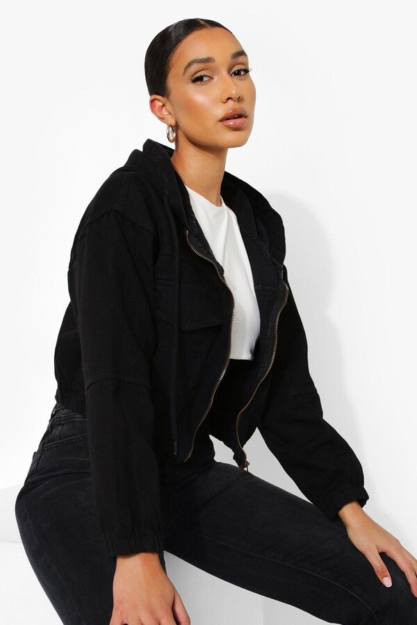 Thumbnail for your product : boohoo Zip Through Hooded Denim Jacket