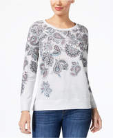 Style&Co. Style & Co Petite Paisley-Print Sweatshirt, Created for Macy's
