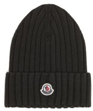 Moncler Logo-patch Merino-wool Beanie - Khaki