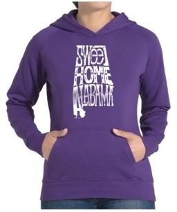 LA Pop Art Women's Word Art Hooded Sweatshirt -Sweet Home Alabama