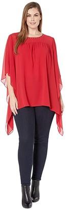 MICHAEL Michael Kors Size Cascade Sleeve Yoke Top (Red Currant) Women's Clothing
