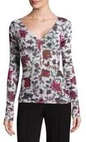 Diane von Furstenberg Floral Long-Sleeve Top