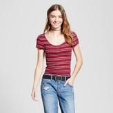 Mossimo Women's Henley Baby T-Shirt Burgundy Stripe