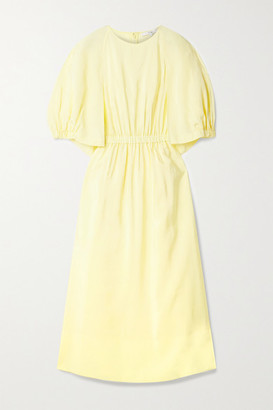 Tibi Gemma Cape-effect Cutout Gathered Woven Midi Dress - Pastel yellow