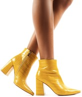 Public Desire Hollie Pointed Toe Ankle Boots in Mustard Croc