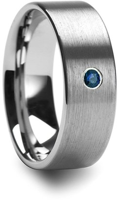 Mavi Jeans Men's Brushed Finish Flat Tungsten Wedding Band with Blue Diamond - 6mm