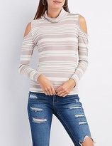 Charlotte Russe Striped Turtleneck Cold Shoulder Top