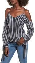 Lush Metallic Stripe Cold Shoulder Top