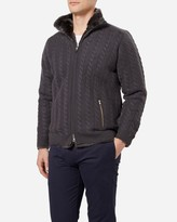 N.Peal Fur Lined Cable Cashmere Cardigan