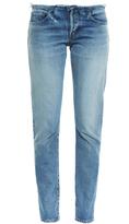 Saint Laurent Raw-edge low-rise slim boyfriend jeans