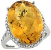 Sabrina Silver Sterling Silver Diamond Natural Whisky Quartz Ring Oval 18x13mm, 3/4 inch wide, size 8.5