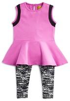 Nicole Miller Infant Girls' Foil-Trimmed Peplum Top & Print Leggings Set - Sizes 12-24 Months