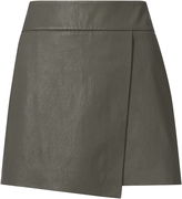 Exclusive for Intermix Jadyn Wrap Leather Mini Skirt Green ZERO