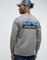 Patagonia Long Sleeve Top With P6 Logo In Regular Fit Grey