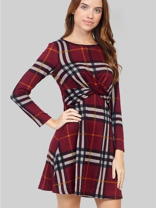 M&Co Izabel checked knot front dress