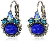 Sorrelli Electric Blue Petite Oval Semi-Precious French Wire Drop Earrings