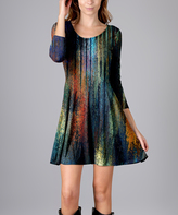 Aster Blue Abstract Skater Dress - Plus Too
