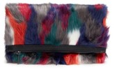 Leith Multicolored Faux Fur Foldover Clutch - Pink