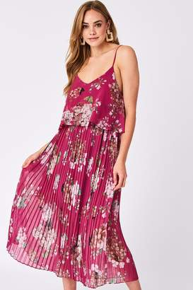 Urban Touch Fuchsia Floral Print Pleated Cami Midi Dress