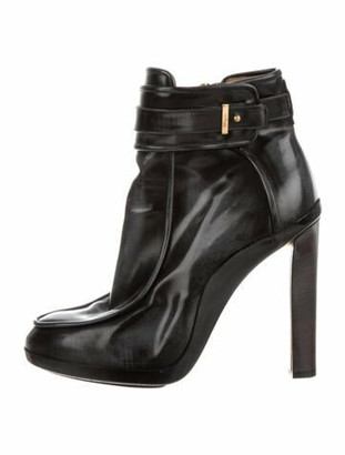 Salvatore Ferragamo Patent Leather Distressed Accents Boots Black