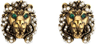 Gucci Lion head earrings with pearls