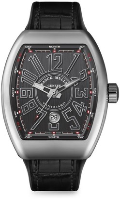 Franck Muller Vanguard Stainless Steel & Croc-Embossed Leather Strap Watch