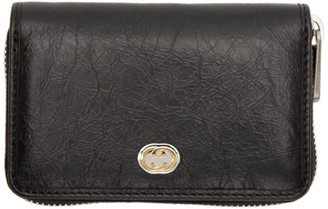 Gucci Black Interlocking G Zip Around Wallet
