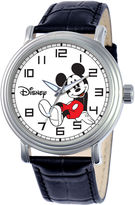 disney watches for men shopstyle disney mens mickey mouse black leather strap watch