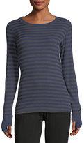 Allen Allen Thumbhole-Cuff Striped Top, Blue