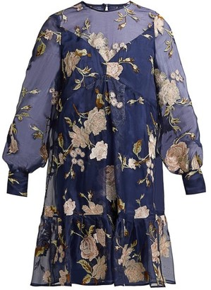 Erdem Christy Gertrude-embroidered Silk-organza Dress - Navy Multi