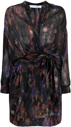 IRO Keita abstract-batik print wrap dress