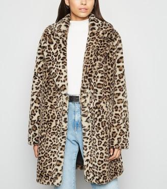 New Look Leopard Print Faux Fur Coat