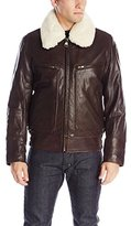 Andrew Marc Men's Carmine Rugged Lamb Aviator Bomber with Removable Sherpa Collar