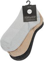 Topshop 3 Pack Glitter Trainer Socks