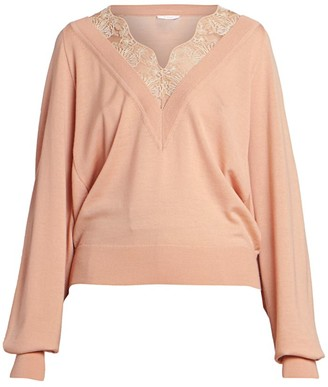 Chloé Wool-Blend Lace Detail V-Neck Knit Sweater