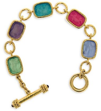 Elizabeth Locke Venetian Glass Intaglio 19K Yellow Gold Bright Pastel Antique Animals Toggle Bracelet