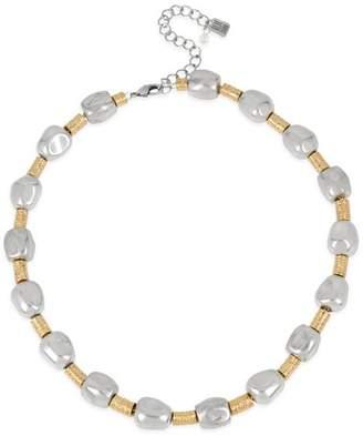 "Robert Lee Morris Soho Two-Tone Geometric Round Wire Collar Necklace, 17"""