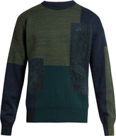 Oamc Paneled wool-blend crew-neck sweater