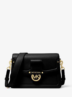MICHAEL Michael Kors MK Jessie Medium Pebbled Leather Shoulder Bag - Black - Michael Kors