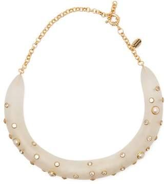 Vanda Jacintho - Pearl And Crystal-embellished Resin Choker - Womens - White