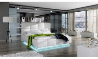 Orren Ellis Cordon Upholstered Storage Platform with Mattress Color: White , Size: European King